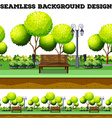 Trees and bench in the park vector image vector image