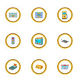urban element icons set cartoon style vector image vector image