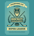 vintage poster hockey championships vector image vector image