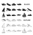 water and sea transport black icons in set vector image vector image