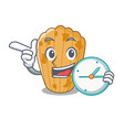 with clock cake madeleine french isolated on vector image