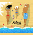 young family sunbathing on beach vector image vector image