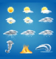 3d realistic set of weather forecast icons vector image