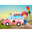 A boy with icecream and the pink car vector image vector image