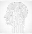 abstract human head with circuit board technology vector image