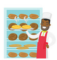 african-american baker holding tray with bread vector image vector image