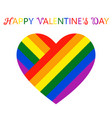 beautiful colorful heart in flowers of lgbt flag vector image