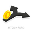 bitcoin fork isolated isometric arrow split with vector image vector image