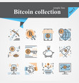 bitcoin outline and flat trendy icon set vector image vector image