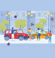 car accident on city road vehicles damage flat vector image