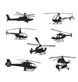 collection of silhouettes of various helicopter vector image vector image