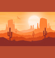 daytime cartoon flat style desert landscape vector image vector image