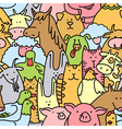 doodle farm animals seamless pattern vector image vector image