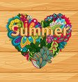 doodle flowers heart on wood background vector image