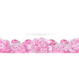 elegant pink peonies border seamless pattern vector image