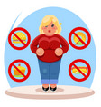 fat female diet character health refusal junk food vector image vector image