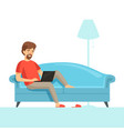 freelancer on sofa happy smile work guy on vector image