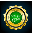 gold premium special offer sale badge green vector image vector image