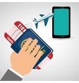 hand hold passport ticket travel plane cellphone vector image