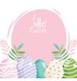 happy easter decorative eggs ornament season vector image