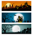 happy halloween banner set vector image