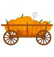 harvesting product pumpkin in cart farm vector image