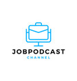 job podcast logo icon for job blog video vlog vector image vector image