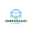 job podcast logo icon for job blog video vlog vector image
