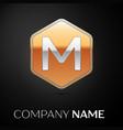 letter m logo symbol in the golden hexagonal vector image
