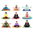 meditation meditating people practice yoga vector image