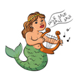 mermaid playing a harp vector image