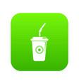 plastic glass juice icon green vector image vector image