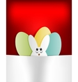 Red background Easter Bunny and eggs vector image