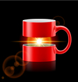Red mug of two parts with sunshine inside vector image vector image