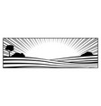 rural landscape with hills and fields monochrome vector image