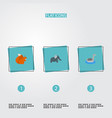 set of animal icons flat style symbols with goose vector image