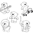 set of bears Coloring book vector image
