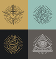 set tattoo styled icons vector image