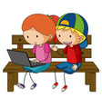 two kids working on laptop computer vector image vector image