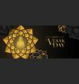 vesak day greeting card gold flower buddha vector image vector image