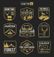 Camping outdoor and adventure gears badge logo vector image