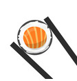 chopsticks holding ikura or red caviar sushi roll vector image