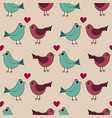 seamless pattern with lovely hand-drawn birds vector image