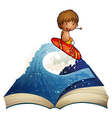 A book with a story about a surfer vector image vector image