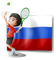 A boy playing tennis in front of the Russian vector image vector image