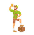 bearded man drinking beer vector image vector image