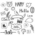 black on white icons ribbons and speech bubbles vector image