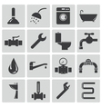 black plumbing icons set vector image vector image