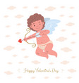 card with cupid aiming arrow of love vector image