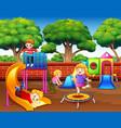 cartoon children having fun in the playground vector image
